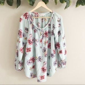 Rebecca Taylor | 100% Silk Floral Blouse